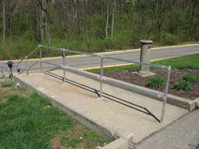 Outdoor Stairs with Center Railing