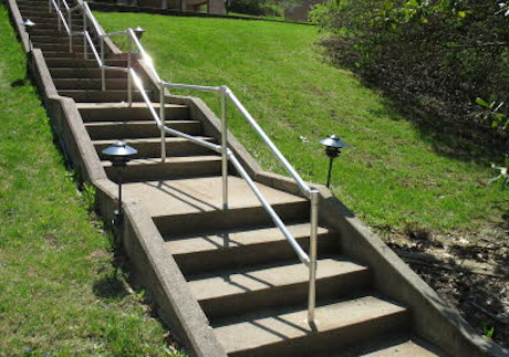 Outdoor Park Stairs with Center Railing